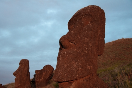 Sunrise at Rano Raraku volcano, Easter island, Chile photo