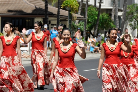 HONOLULU, HAWAII - MARCH 26: Native people march during the Prince Kuhio Celebration Commemorative Parade, March 26th, 2010. Stock Photo - 21007864
