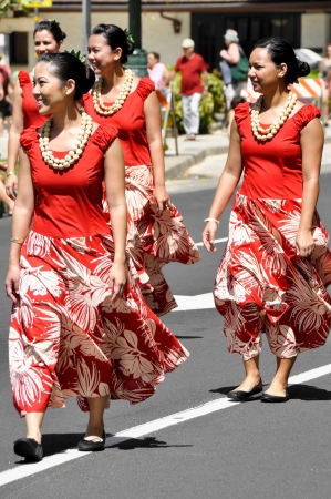 HONOLULU, HAWAII - MARCH 26: Native people march during the Prince Kuhio Celebration Commemorative Parade, March 26th, 2010.