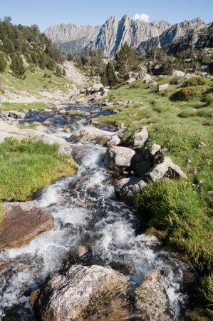 Creek at Aiguestortes and Sant Maurici National Park, Pyrenees, Spain photo