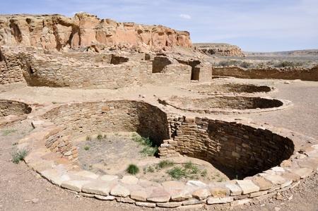 chaco: Pueblo Bonito ruins, Chaco Canyon, New Mexico, USA Stock Photo