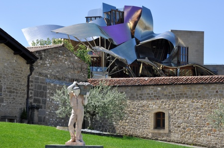 ELCIEGO, SPAIN - MAY 26  The modern winery of Marques de Riscal on May 26, 2013 in Elciego, Basque Country, Spain  This modern winery, designed by Frank Gehry, was  built in 2007