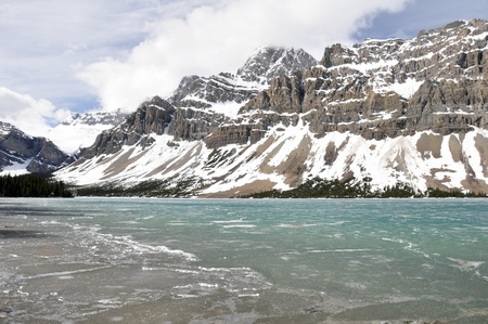 Bow Lake in Spring, Rocky Mountains, Canada photo