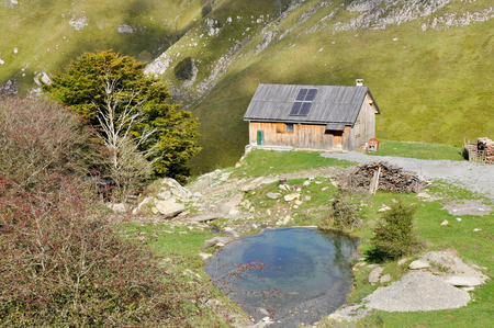 Mountain hut in the Pyrenees photo