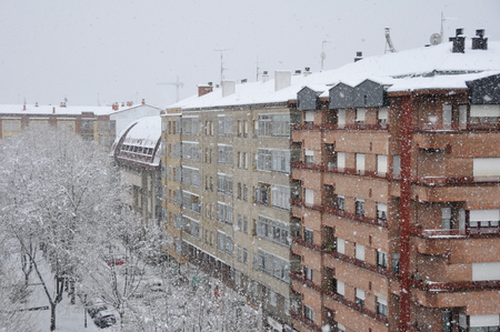 vitoria: Snowstorm in the city, Vitoria, Spain Stock Photo