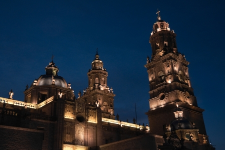 Cathedral of Morelia at night, Michoacan, Mexico Stock Photo
