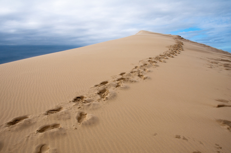 Footprints on sand dune of Pyla, highest in Europe, France Stock Photo