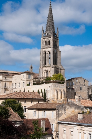 monolithic: Bell Tower of Monolithic Church, Saint-Emilion, France Stock Photo