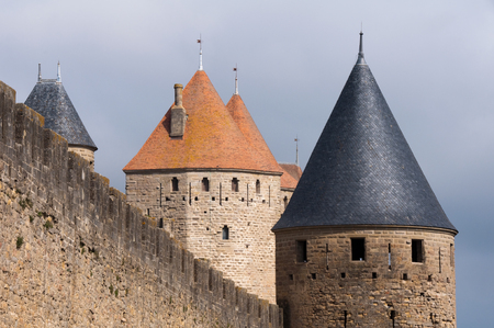 walled: Towers of the walled town of Carcassonne, France