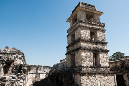 The tower of the palace,ancient Mayan city of Palenque, Mexico photo