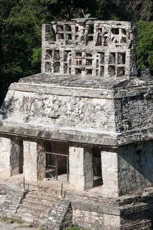 Temple of the Sun at the Mayan ruins of Palenque in Mexico photo