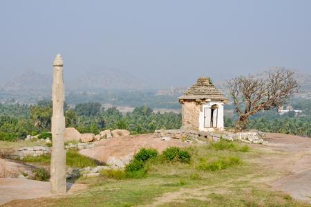monolithic: A monolithic stone column, Hemakuta Hill, Hampi, India