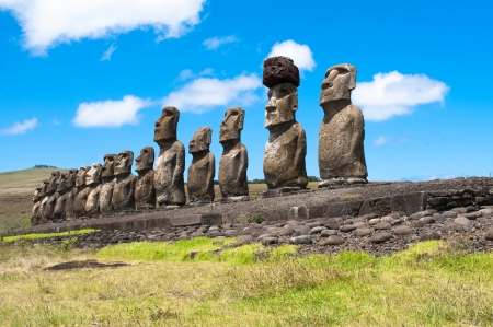 Ahu Tongariki, Easter island, Chile Imagens - 24935904