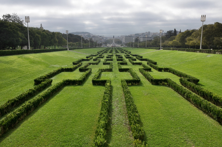 eduardo: Panorama of the Eduardo VII Park in Lisbon, Portugal Stock Photo