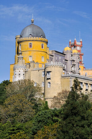 pena: Pena National Palace above Sintra town, Portugal