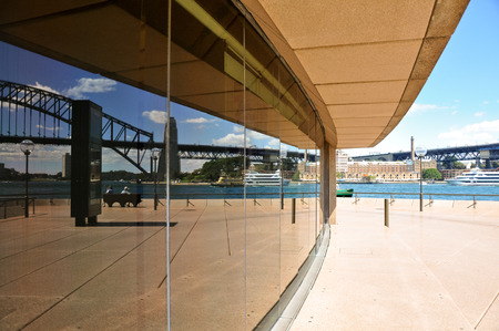 Bay of Sydney reflected on the windows of Sydney Opera House photo