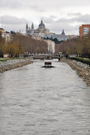 Manzanares river, Almudena cathedral as background, Madrid photo