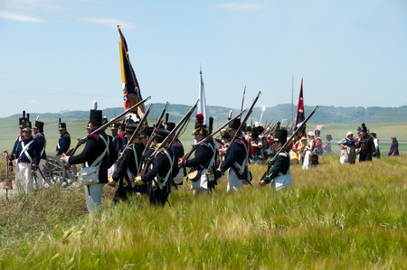 Re-enactment of the battle of Vitoria between British, Portuguese and Spanish army under General Wellington and the French army in 1813 on JUNE 22, 2013 in Vitoria, Spain