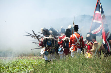 musket: Re-enactment of the battle of Vitoria between British, Portuguese and Spanish army under General Wellington and the French army in 1813 on JUNE 22, 2013 in Vitoria, Spain