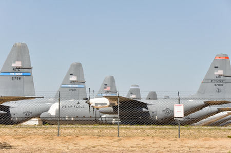 tucson: Davis-Monthan Air Force Base AMARG boneyard in Tucson, Arizona Editorial