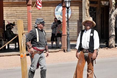 reenactment: Re-enactment of the OK Corral gunfight on April 18, 2011 in Tombstone, Arizona