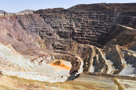 gouged: Historic open pit copper mine in Bisbee, Arizona