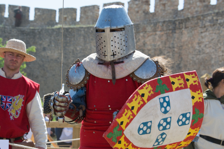 belmonte: Fighter on the World Championship of Medieval Combat on May 2, 2014 in Belmonte, Cuenca, Spain  This championship is celebrating in the Belmonte castle from May 1 to May 4