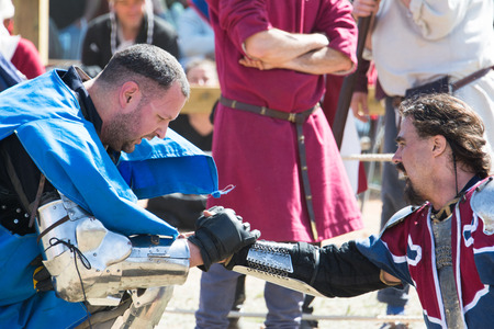 belmonte: End of a fight on the World Championship of Medieval Combat on May 2, 2014 in Belmonte, Cuenca, Spain  Editorial