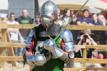 Fighter on the World Championship of Medieval Combat on May 2, 2014 in Belmonte, Cuenca, Spain  This championship is celebrating in the Belmonte castle from May 1 to May 4