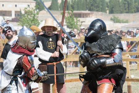 belmonte: Fighters on the World Championship of Medieval Combat on May 2, 2014 in Belmonte, Cuenca, Spain  This championship is celebrating in the Belmonte castle from May 1 to May 4  Editorial