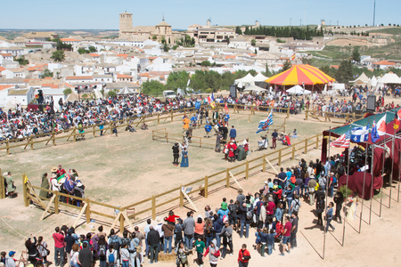Fighters on the World Championship of Medieval Combat on May 2, 2014 in Belmonte, Cuenca, Spain  This championship is celebrating in the Belmonte castle from May 1 to May 4  Editorial