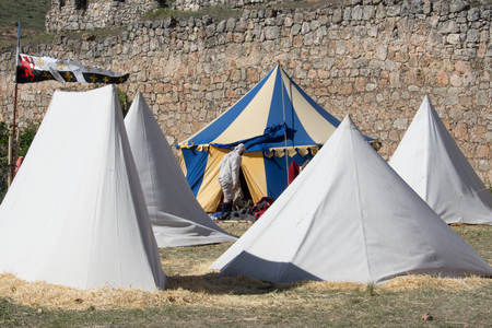 belmonte: Campsite on the World Championship of Medieval Combat on May 2, 2014 in Belmonte, Cuenca, Spain