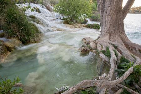 castilla la mancha: Waterfall near Salvadora lagoon, Ruidera Natural Park, Castilla La Mancha, Spain