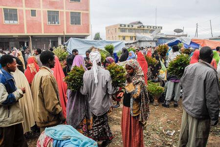 Mercado Asma addin Bari, New Market, también conocido como el mercado cristiano, el 6 de agosto de 2007 en Harar, Etiopía Editorial