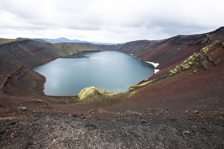 crater lake: Ljotipollur crater lake, Landmannalaugar, Iceland Stock Photo