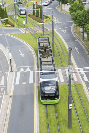 The modern tram of Bilbao was inaugurated in 2002 on May 27, 2014 in Bilbao, Basque Country, Spain