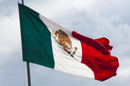 flyaway: Flag of Mexico, Zocalo, Mexico City Stock Photo