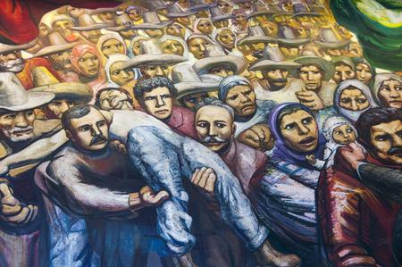 Mural  Del porfirismo a la Revolucion   created by David Alfaro Sequeiros in 1966, located at Chapultepec castle on February 17, 2012 in Mexico City, Mexico 新聞圖片