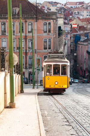 bairro: Famous tram 28 in Bairro Alto district on October 26, 2013 in Lisbon, Portugal The Lisbon tramway network operates since 1873  Editorial