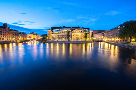 Summer evening panorama of the Old Town in Stockholm, Sweden  photo