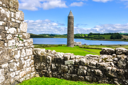 monastic sites: Devenish Island Monastic Site, Northern Ireland Stock Photo