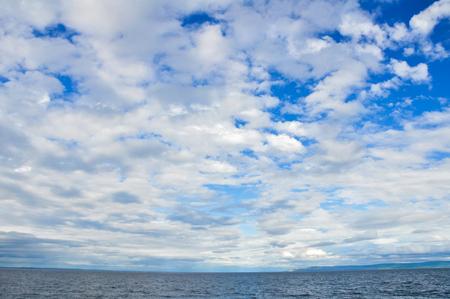 aran islands: Blue sea and cloudy sky, Aran islands in Ireland