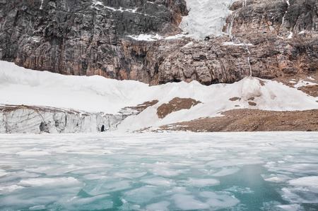 frozen lake: Glacier of Mount Edith Cavell, Jasper National Park, Canada