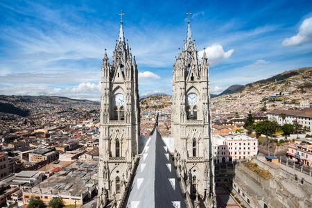 Twin steeples of the Basilica del Voto Naciona in Quito, Ecuador