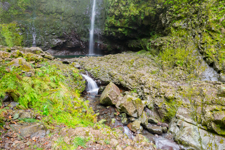 laurel mountain: Waterfall in the Levada of Caldeirao Verde, Madeira, Portugal) Stock Photo