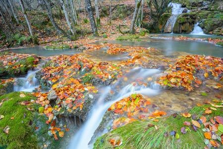 cascade range: Waterfalls at Entzia mountain range, Spain