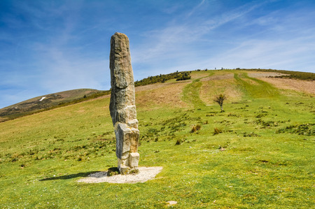 prehistory: Menhir of Arlobi, Gorbea Natural Park, Alava, Spain