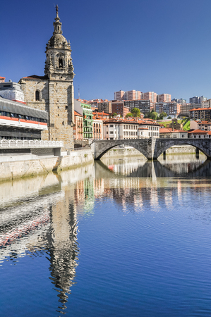 ria: Old town of Bilbao, Basque Country, Spain Stock Photo