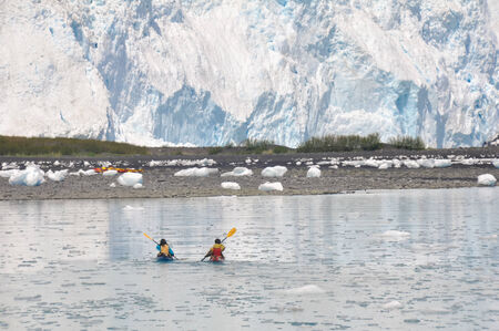 kayaker: kayakers in front of Aialik glacier, Kenai Fjords, Alaska