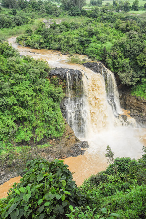 waterfall  dirty: Tiss abay Falls on the Blue Nile river, Ethiopia Stock Photo